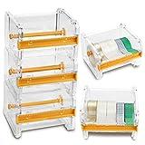 Fireboomoon 4 Pack Transparent Washi Tape Dispenser,Desktop Acrylic Roll Tape Storage Box Holder Organizer Cutter for Office Tape DIY Sticker(Not Include Tape)