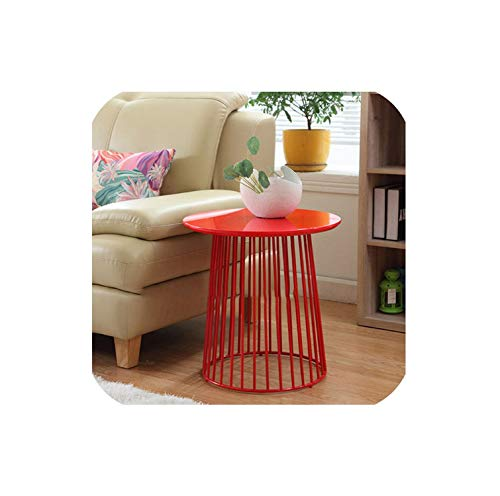 Modern Minimalism Europe Storage Side Table Metal Wire Storage Round Tea Table Multifunction Coffee Table Loft Cafe Side Table,Red