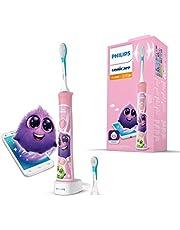 Philips Sonicare for kids, HX6352/42, Elektrische tandenborstel, Ingebouwde bluetooth, 2 Opzetborstels, 8 Stickers, 2 Poetsstanden, Coaching app, Kidstimer, Leuk, educatief en effectief