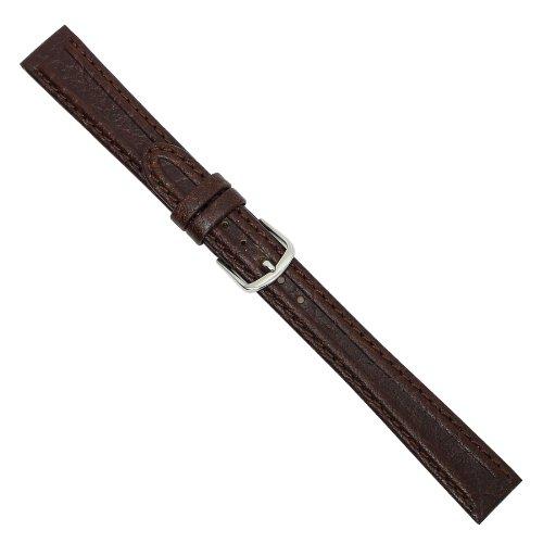 Uhrbanddealer Damen Uhrenarmband 14mm Ersatzband Nuevo Leder Braun mit feinem Wulst 096814s