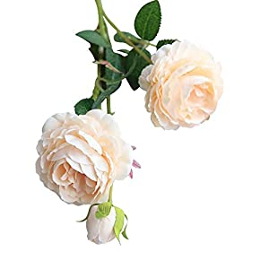 Adarl European Artificial Rose Flower Fake Silk Flower 3 Heads Rose Flower Bouquet for Home Office Decor Party Festival Wedding Decoration