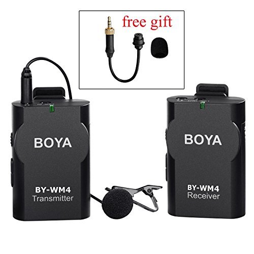 BOYA BY-CWM1 Lavalier Wireless Microphone System with Gooseneck Interview Mic BY-UM2 for IOS Smartphone iPad Tablet DSLR Camera Sony RX0 Camcorder Broadcast Podcast Youtube Lecture Classroom