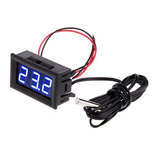 Youlin - Termometro digitale a LED, con sonda, -50~110 °C, per acquario, terrario e frigorifero congelatore Comme montré blu