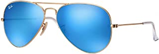 RB3025 Large Aviator Sunglasses Matte Gold w/Blue Mirror (112/17) 3025 11217 62mm Authentic