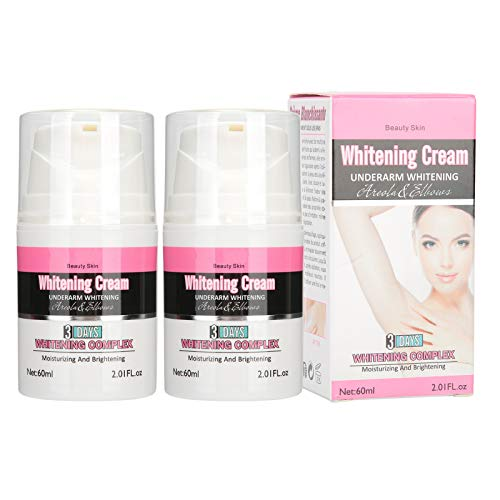 Crema blanqueadora de axilas, Crema iluminadora para manchas oscuras y zonas íntimas y sensibles, Hidratante corporal para mujeres y hombres, 2 botellas