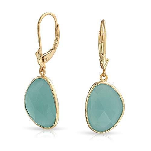 Facettierter Stein Lünette Baumeln Aqua Grün Simulierten Chalcedon Ohrringe Für Damen 14K Vergoldet Sterling Silber