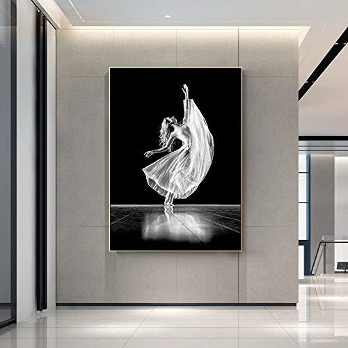 SADHAF Schwarz-Weiß-Tänzerin Frau Bild Leinwanddruck Wandkunst Leinwand Leinwanddruck Wohnzimmer moderne A3 50x70cm