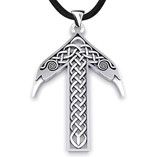Viking Rune Tiwaz Teiwaz Tyr Necklace - 925 Sterling Silver - Pendant with Celtic Knot and Raven Heads - Norse Mythology Amulet Talisman- Nordic Scandinavian Runic Jewelry for Men Women - Handmade