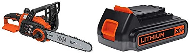 BLACK+DECKER 20V MAX Cordless Chainsaw with Lithium Battery 2.0 Amp Hour (LCS1020B & LBXR2020-OPE)