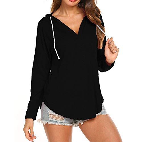 Damen Hoodie V-Ausschnitt T-Shirt Langarm Einfarbig Loose und Bequemer Pullover Sweatshirt Frühling, Sommer und Herbst neu Freizeit Mode elegant Party Streetwear Wandern Jogging top XL
