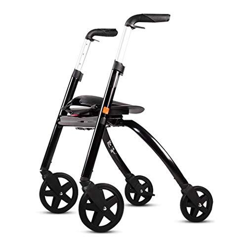 Walk Älterer Gehhilfe-Aluminiumlegierungs-Rollstuhl, der mit weichem Sitz und Handbremse-Gerät faltbar ist, verwendbar für ältere Hemiplegie- und Rehabilitations-Leute unter Verwendung