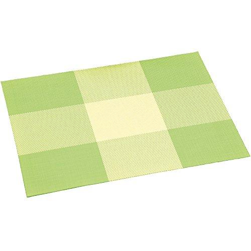 KESPER Set de Table en plastiqué en Vert rayé, Plastique, Multicolore, 43x29x0,1 cm