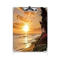 クリップボード ハワイの装飾 ミニバインダー マウイ島のカアナパリビーチのdsに暖かい熱帯の夕日 用箋挟 クロス貼 A4 短辺とじ