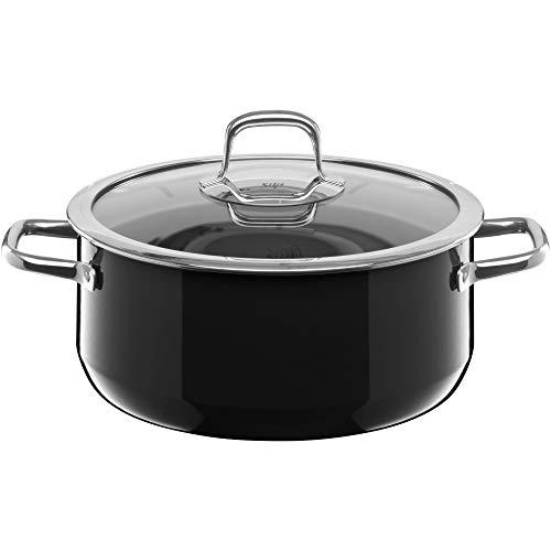 Silit Compact Kochtopf groß, 24 cm, Glasdeckel, Bratentopf 4,5l, Topf Induktion, stapelbar, Silargan Funktionskeramik, schwarz