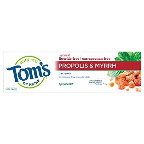 Tom's of Maine Fluoride-Free Propolis & Myrrh Natural Toothpaste, Spearmint, 5.5 oz.