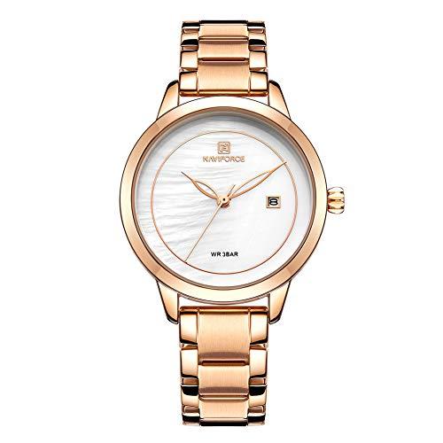 Women Watch Waterproof Analog Quartz Womens Watches Casual Fashion Female Dress Watch (NF5008-RGW)