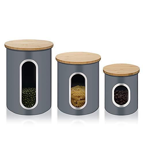 3er Set Vorratsdose, Metall Vorratsbehälter für Lebensmittel mit Luftdichten Bambusdeckeln und Durchsichtigem Fenster, Aufbewahrungsbehälter für Kaffee, Tee, Getreide, Trockenfutter, Grau