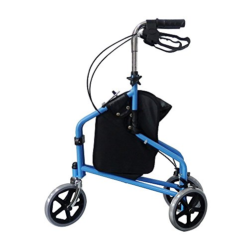 3 Wheel Rollator Walker with Ergonomic Hand Grips, Locking Brakes, Adjustable Handle Height, Lightweight Aluminum Frame - Blue - by Bodyhealt