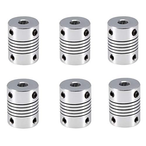 JZK 6 x Flexible Kupplungen Wellenkupplung 5mm bis 8mm Kupplung für 3D-Drucker für RepRap 3D Drucker CNC Maschine