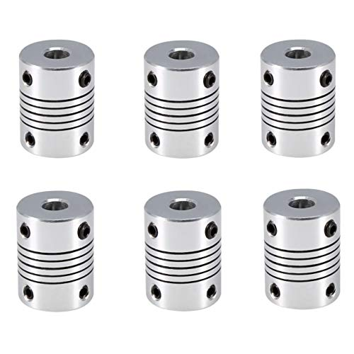 JZK 6 x Giunto accoppiamento flessibile di alluminio da 5 mm a 8 mm per sostituzione accoppiatore di stampante 3D, per asse Z, per motore passo passo nema 17