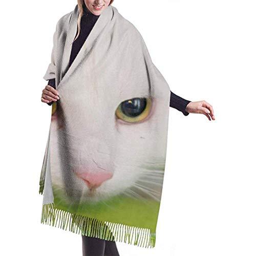 Bufanda de invierno Cachemira Siente Gato blanco sobre alfombra verde Bufandas veterinarias...