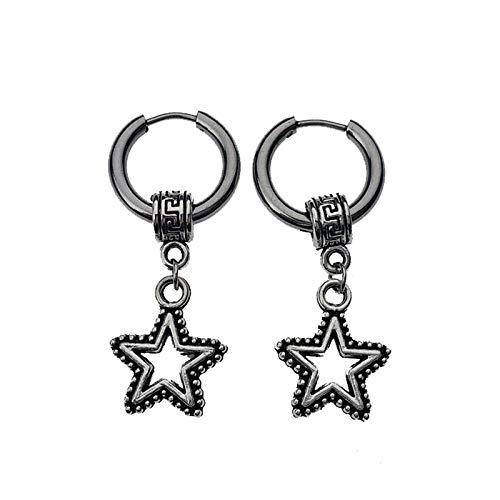 Coreano gótico hombres redondo titanio acero pendientes de joyería de los hombres accesorios de joyería Hipster Rock estilo Punk círculo estrella pendientes