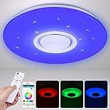 Lámpara LED de Techo con Altavoz Bluetooth 24W, Luces de Techo de Intensidad Regulable, Luz de Música RGB con APP y Control Remoto, Plafón de Techo Cambio de Color, Luz Redonda Empotrada 3000-6500K