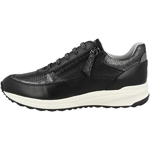 Geox Low D Airell A - Zapatillas deportivas para mujer, color Negro, talla 37 EU