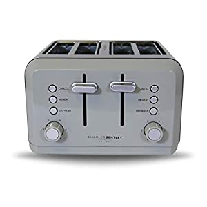 Charles Bentley 4 Slice Toaster Stainless Steel Browning Control Dial with 6 Levels Loading Handle in Grey