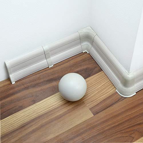 [DQ-PP] 16 Meter Sockelleisten 62mm PVC Kiefer weiß Laminatleisten Fussleisten aus Kunststoff PVC Laminat Dekore Fußleisten