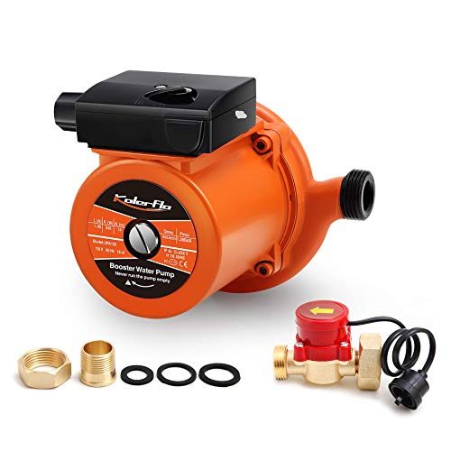 KOLERFLO 1/2 NPT Home Pressure Booster Pump 948 GPH,18.6 PSI Automatic Boost Water Pump with Flow Switch for Household/Batthroom (UPA120 Orange)