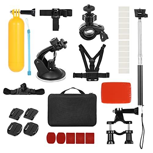 Andoer 30-en-1 Kit de Accesorios para cámara de acción Juego de Accesorios para cámara Deportiva Reemplazo para GoPro Hero 9 8 MAX 7 6 5 para cámaras de acción Insta360 SJCAM con Estuche de Transporte
