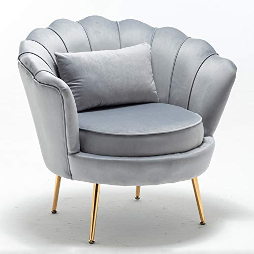 LZWZW Single Living Room Velvet Tub Armchairs with Small Pillow Metal Leg Armrests Sofa Chair Lounge Accent Chairs Arm Chairs (Grey)