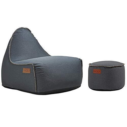 SACKit - RETROit Canvas Petrol - Indoor Sitzsack + Hocker. Sitzsack mit Lehne und Füllung mit EPS Kugeln für eine optimalen Sitzkomfort - Großer Sitzsacke für Erwachsene