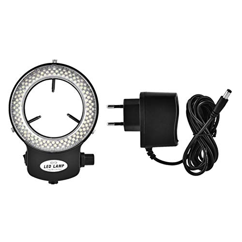 LED-Ringlicht, Mikroskopkamera 144 LED-Perlen Lichtquellenhelligkeit Einstellbare Ringlampe für Stereomikroskop und Kamera mit Netzteil(Schwarzer europäischer Standard 220V)