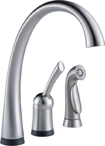 Hot Sale Delta Faucet 4380T-AR-DST Pilar Single Handle Kitchen Faucet with Touch2O Technology and Spray, Arctic Stainless