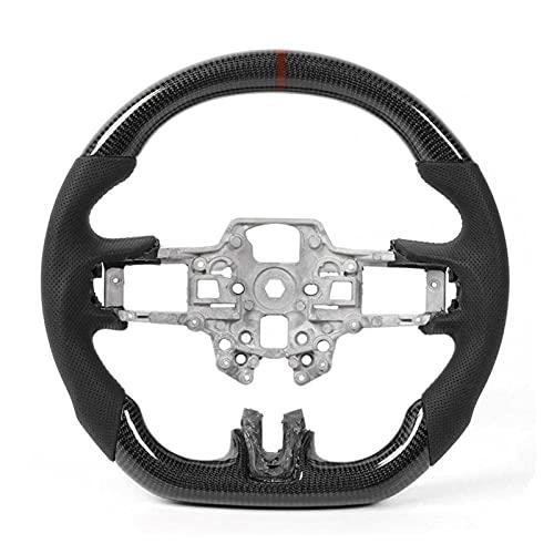 YUNXIAN Buje del Volante Rueda de Fibra de Carbono Cuero precorido con Cuero con Costura Ford Mustang EcoBoost GT Shelby GT350 / GT350R 2018-2020 Repuestos para Autos (Color : Rood)