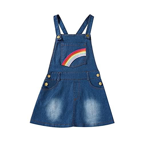 BIBOKAOKE Meisjesjurk, spijkerjurk, mouwloos, sling denim, mode, zomer, regenboogjurk, casual, schattige strandjurk, dagelijks gebruik, outdoor, prinsessenjurk, knielange jurk, maat 1-6 jaar