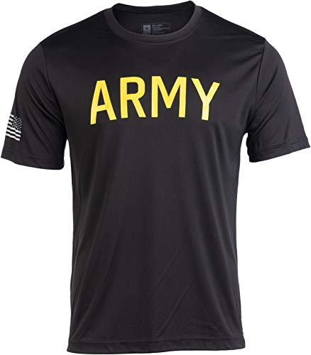 Army Wicking PT Style Shirt | U.S. Military Performance Training Infantry Workout T-Shirt-(Poly,3XL) Black