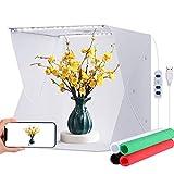 Tienda de estudio fotográfico, 33 x 32 x 31 cm, caja de fotos con brillo ajustable, caja de luz LED plegable, kit de softbox con 4 fondos de color para la fotografía