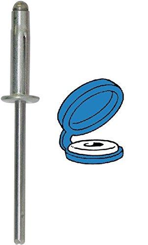 Restagraf Rivet Expansé Chapo en Boîte pour Plaque d'Immatriculation, 0 à 6.3mm Épaisseur, 17.5mm Longueur, Bleu, Lot de 200