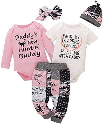 Dramiposs Baby Girls Daddy New Huntin Buddy Outfits Funny Letter Print Clothes Set White01 0 product image