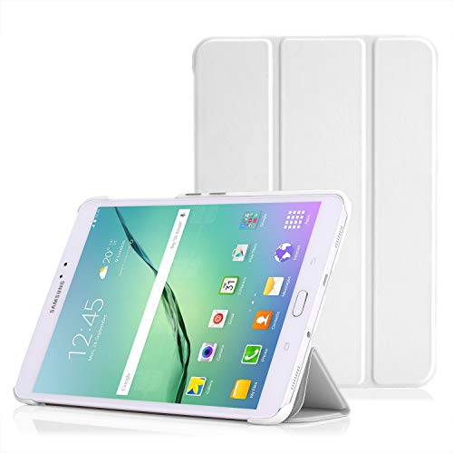 MoKo Funda Compatible con Galaxy Tab S2 8.0, Ultra Slim Lightweight Función de Soporte Protectora Plegable Smart Cover Durable Auto Sueño/Estela para Galaxy Tab S 2 8.0' Tableta, Blanco