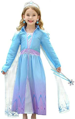 iTVTi Girls Princess Dress Blue Costume Birthday Party Cosplay Toddler Fancy Dress up with Accessories product image