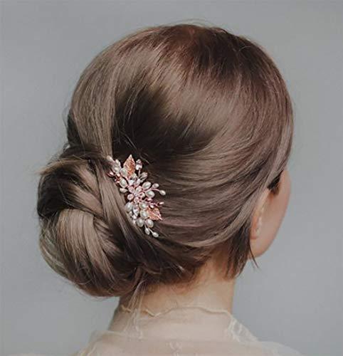 Simsly - Pettine per capelli da sposa con fiore in oro rosa e cristallo per capelli da sposa, accessorio per capelli per donne e ragazze