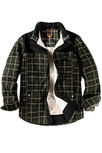 Mr.Stream Camicia da Uomo in Stile Casual da Boscaiolo Plaid Flanella A Quadri Camicia Imbottita da Lavoro di Cotone Cappotto Invernale S Green