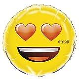 Unique Party 500085 - Globo Emoji de ojos de corazón de aluminio de 45,7 cm