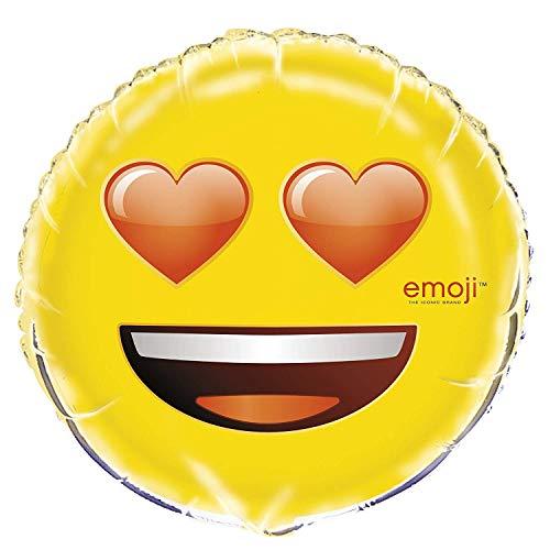 Unique Party- Emoji 50635-Globo de Emoticono de Papel de Aluminio con Ojos de corazón, 45,7 cm, Color Amarillo, Talla única (50635)