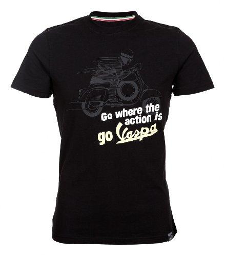 Forme T-Shirt Go where the action is - Vespa schwarz, Größe: L, für Männer, Boys-Cut 100% Baumwolle, fällt klein aus