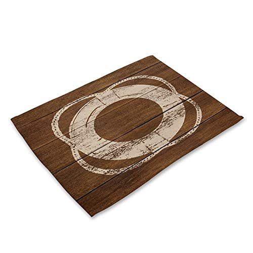 LDGR 1Pcs Anker-Muster-Küche Tischset Tischset Coaster Baumwollleinen Pad Dish-Schalen-Matte 42 * 32cm Home Decor (Color : G)